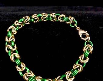 Green and Gold byzantine Weave Bracelet