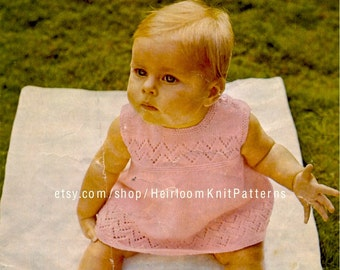 Baby Girls Dress Vintage 4Ply Knitting Pattern Dress Knitting Pattern 18-20-22'' Instant download PDF Pattern - 2037
