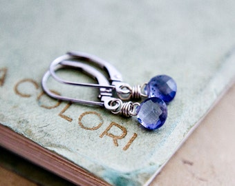 Iolite Earrings, Drop Earrings, Gold Earrings, White Gold, Blue Gemstone, White Gold Earrings, PoleStar, Indigo, Crystal Earrings