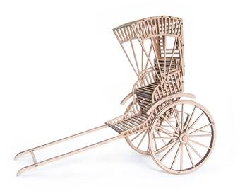 3D Puzzle Indian Rickshaw, Wooden, DIY Model Kit, Laser Cut MDF, DIY Table Sculpture, Fun Project Miniature Rickshaw, Gift for Puzzle Lover