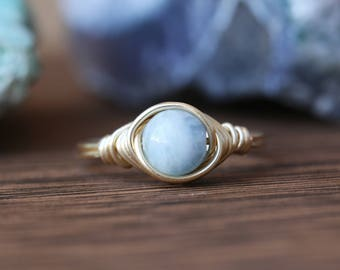 Aquamarine Ring - March Birthstone Ring - Natural Aquamarine Ring - Simple Birthstone Ring - Minimal Ring - Wire Wrapped Ring