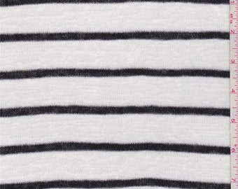 White/Onyx Stripe Sweater Knit, Fabric By The Yard
