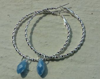 Hoop earrings with silver and crystal drop