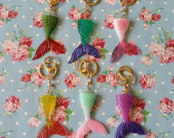Kawaii Glitter Resin Mermaid Tail Keyrings