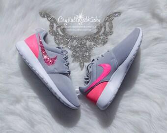 Bling Nike Roshe One made with SWAROVSKI® Crystals - Grey/White/Pink