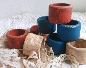 Patriotic Napkin Rings Set of Eight, Red, White, and Blue Napkin Rings set of 8, Rustic Wooden Napkin Holders, Hand Painted Napkin Rings
