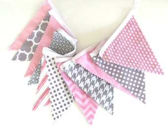 Bunting Banner Girl's Nursery Grey Pink Wedding Bunting, Photography Prop Grey Geometric Flags Dots Check Baby Shower Gift