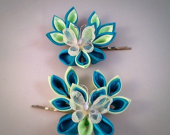 Butterfly hair grips, blue and green Kanzashi style