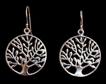 Tree of Life Earrings, Silver