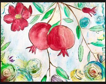 Pomegranates art Pomegranate painting Original watercolour Fruit art Fruit painting Kitchen decor Home decor Small painting Wall art