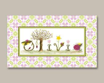 Baby Nursery Woodland Name Sign - Nursery Decor Gift for Her