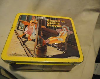 Vintage 1982 Ronald Mcdonald Sheriff Of Cactus Canyon Metal Lunch Box by Aladdin No Thermos, Lunchkit, collectable