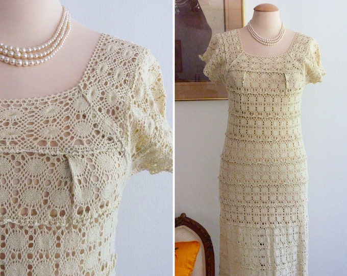 Boho-chic long crochet dress - beige cotton
