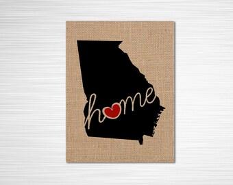 "Georgia (GA) ""Love"" or ""Home"" Burlap or Canvas Paper State Silhouette Wall Art Print / Home Decor (Free Shipping)"
