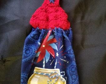 USA shell stitch crochet top kitchen towel