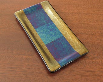 Blue Green Fused Glass Dish with Metallic Surface - Fused Glass Butter Dish