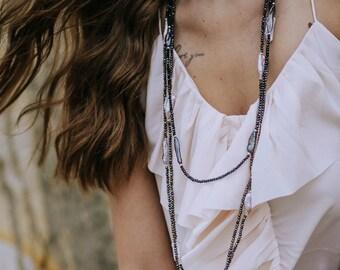 Blue Biwa Necklace, Pearl Jewellery, Pearl Accessories, Freshwater Pearl Necklace, Pearl Necklace, Biwa Pearls, Blue Pearls, Black Pearls