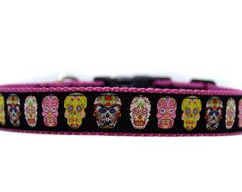 1 Inch Wide Dog Collar with Adjustable Buckle or Martingale in Sugar Skulls