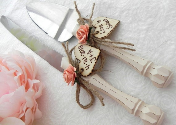 Rustic Chic Wedding Cake Server And Knife Set, Cream and Peach, Personalized Wood Hearts, Bridal Shower Gift, Wedding Gift