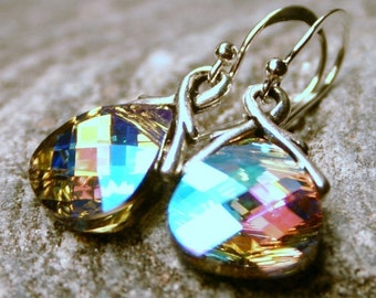 Pastel Rainbow Crystal Earrings CAL AB Swarovski Flat Briolette Sterling Silver Petite Dangle Pink Aqua Lilac Yellow Gifts Glowing Under 25