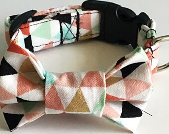 Triangle Bow Tie Collar for Male Dogs and Cats in Buckle or Martingale Styles