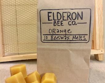 beeswax melts // 100% natural // handmade // orange // wax melts