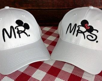 Mr. and Mrs. Hat, Mrs. Ears hat, Mickey Ears Baseball Cap, Mouse Ears, Disney Wedding, Honeymoon, Disneymoon, Newlyweds, Wedding Gift
