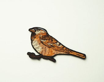 Brown Bird Embroidered Iron On Patch DIY Sew-on Applique