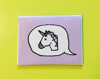 Emoji Cards! - Unicorn - Purple Background