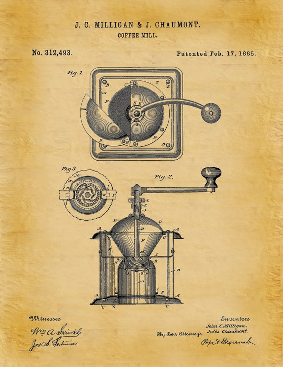 Patent 1885 Coffee Mill Coffee Grinder Art Print Poster