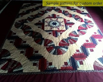 Hand Quilted, Amish quilts, Log cabin & Fan Quilts, Hand quilted quilts, King size quilts, Amish patchwork, Traditional Quilt,burgundy quilt