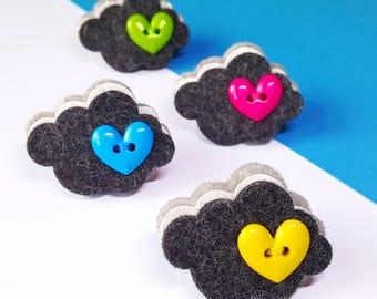 Cloud Brooch - Novelty Felt Brooch - Silver Lining Cloud Felt Brooch - Weather Jewelery