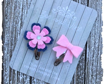READY TO SHIP, Blue Pink Wool Felt Flower Mini Bow Clip Set, Baby Clips, Infant Girls Adult Mini Snap Clips