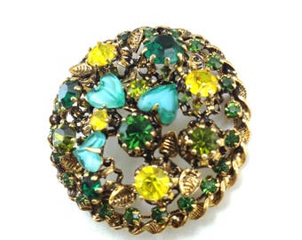 Vintage Brooch Signed Made Austria Domed Rhinestone Beauty Lustrous Antiqued Metals Art Glass Hearts Sweet Heart Pin