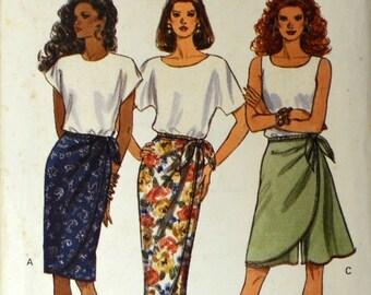 Uncut 1990s Butterick Vintage Sewing Pattern 6715, Size 6-8-10; Misses' Skirt