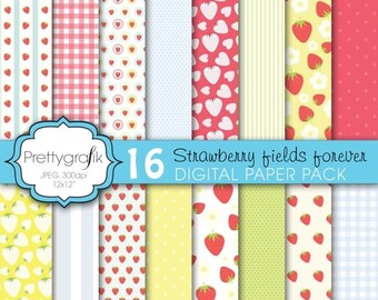 80% OFF SALE strawberry digital paper, commercial use, scrapbook papers, background - PS604