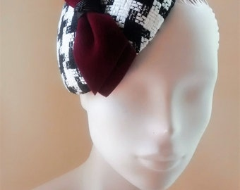 Cocktail Hat Fascinator Black and White Houndstooth Check Wine Red Bow
