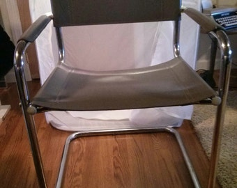 Vintage Mid Century Gray Leather and Metal Chair
