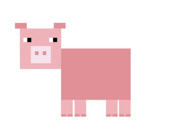 Pin the tail in the pig (mine craft like) Digital file only. Downloadable.