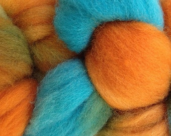 Orange Aqua Blue Wool Roving Hand Dyed in Hopi Land