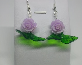 Lilac rose with leaves retro earrings