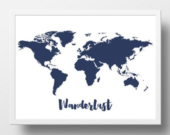 World map print etsy world map poster printable wanderlust world map print navy nursery wall art baby boy nursery wall gumiabroncs Image collections