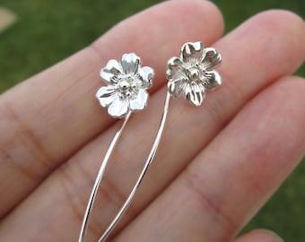 Anemone flower earrings sterling silver earrings jewelry dangle earrings cute small stud earrings long stem earrings unique Threader E-124