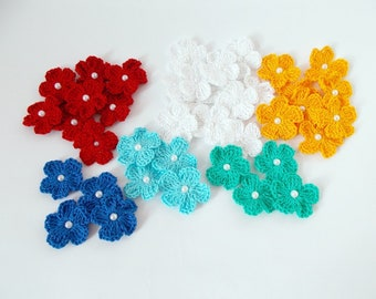 Crochet appliques flower Crochet flowers appliques Decoration knit flower craft supplies embellishments scrapbooking wedding decorations