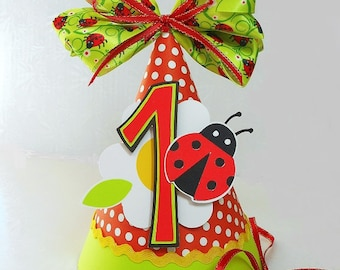 Ladybug Paper Party Hat with Ribbon Bow Topper 1st Birthday Lady Bug Flower Photo Prop