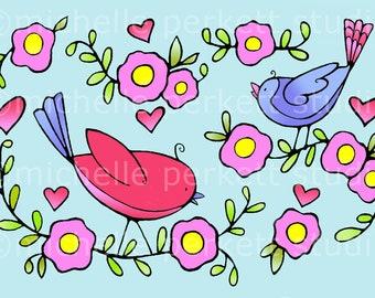 digital download, digital stamp, printable, cardmaking, cute bird images, flowers, happy, spring scrapbooking, hearts,