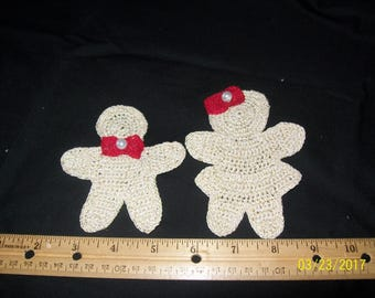 Set of 2 crocheted gingerbread shaped people