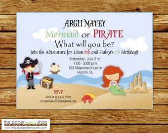 Pirate and Mermaid Party Invitation | Mermaid and Pirate Invitation | Pirate and Mermaid Birthday Party  | Mermaid and Pirate Party