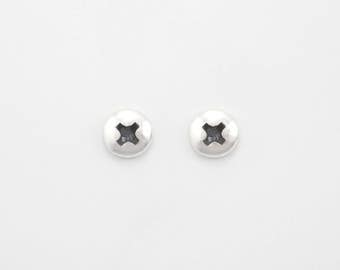 Small Polished Phillips Screw Stud Earrings for Men and Women. Handmade Sterling Silver Studs. Silver Hardware Jewelry. For men and women.