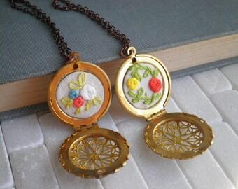 Embroidered Rose Locket Necklace - Rosette Garden Embroidery Pendant - Filigree Locket Floral Roses Fiber Art Gardener Jewelry Gift For Her
